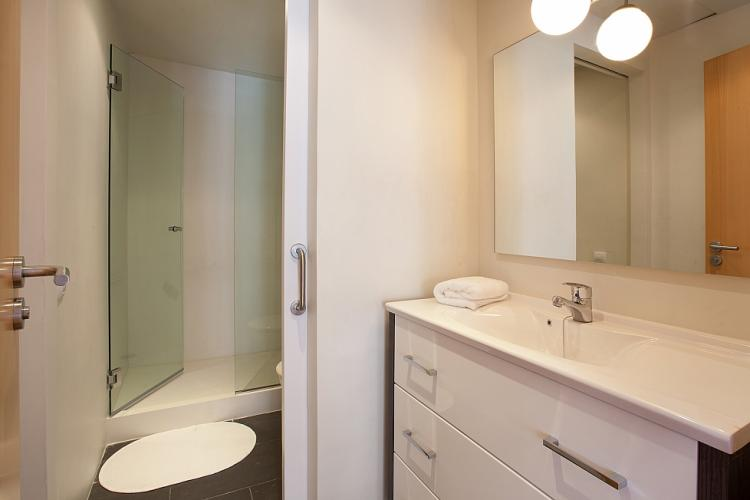 White bathroom with shower and toilets