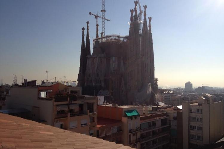 Sagrada Familia is just around the corner from this place, and visible from the top floor terrace