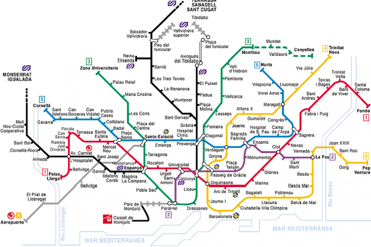 The closest metro station is Placa de Sants and Sants Estacio