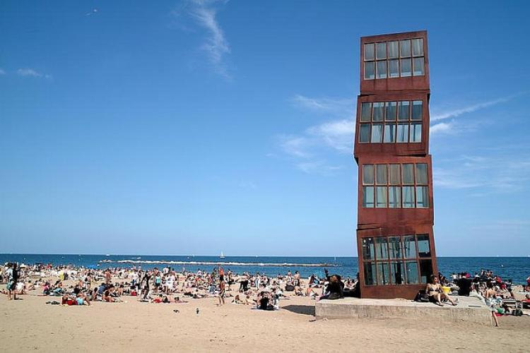 One of the many cool statues on the beach of Barcelona.