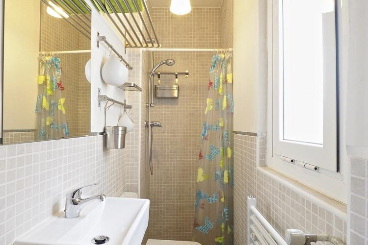 The bathroom comes with a standing shower, WC and faucet.