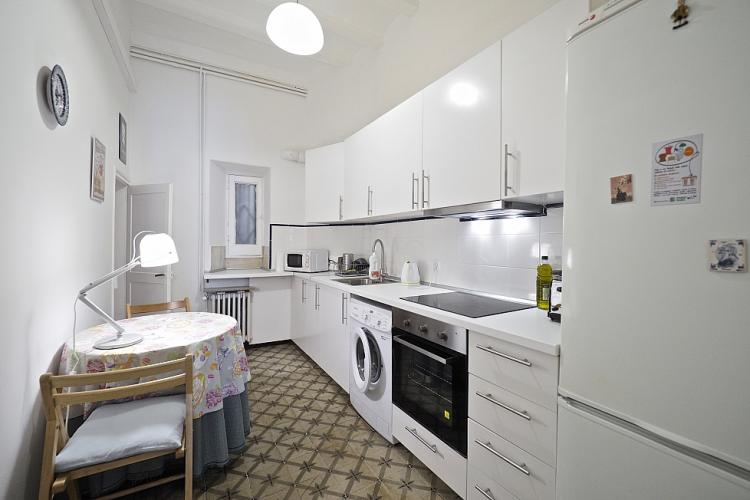 The apartment comes with a long kitchen.