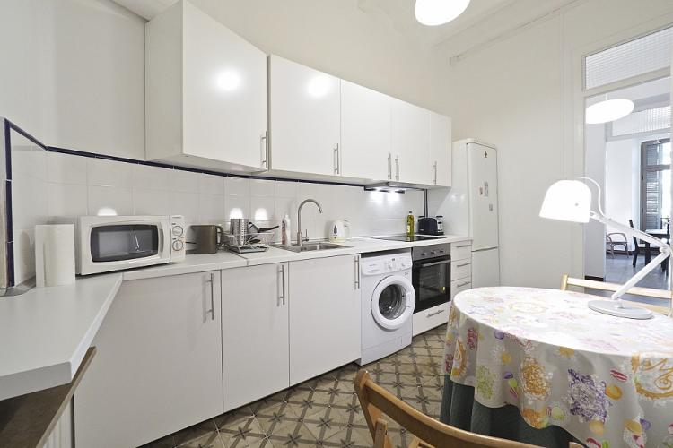 The kitchen comes fully equipped with everything you will need, including a microwave.