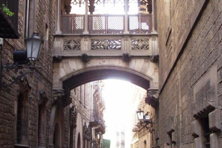 The neighborhood is famous for its gorgeous Gothic architecture, for example the Carrer Bisbe arch.