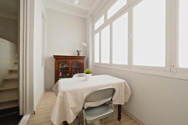 Dining room with table for two.