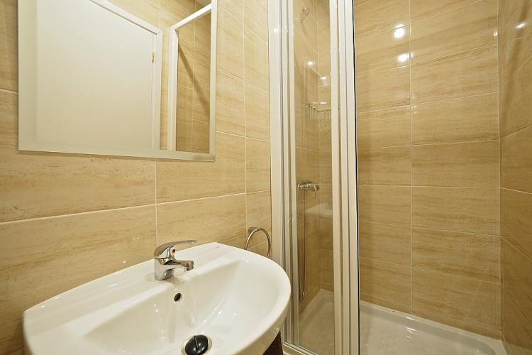 The en suite bathroom comes with a shower.