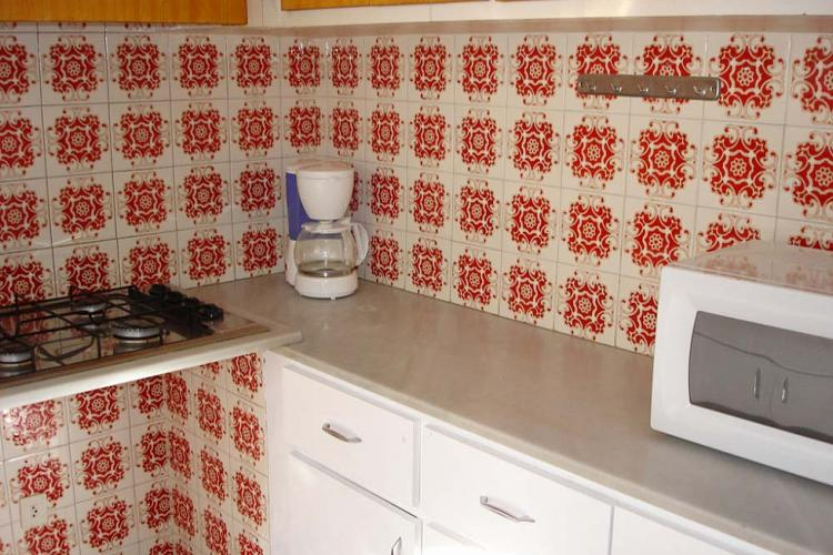 The kitchen comes with unique red mosaic tiles on the walls.