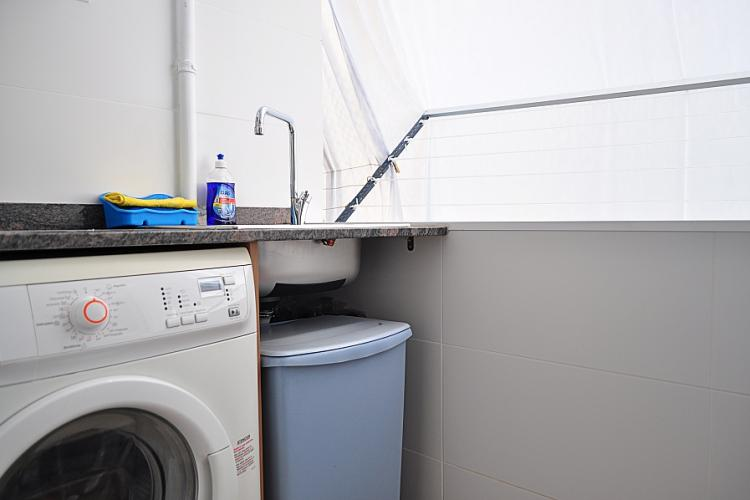 The apartment comes with a washing machine for your convenience.