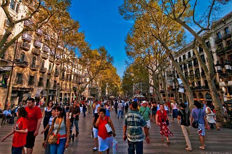 Famous tourist street La Rambla.