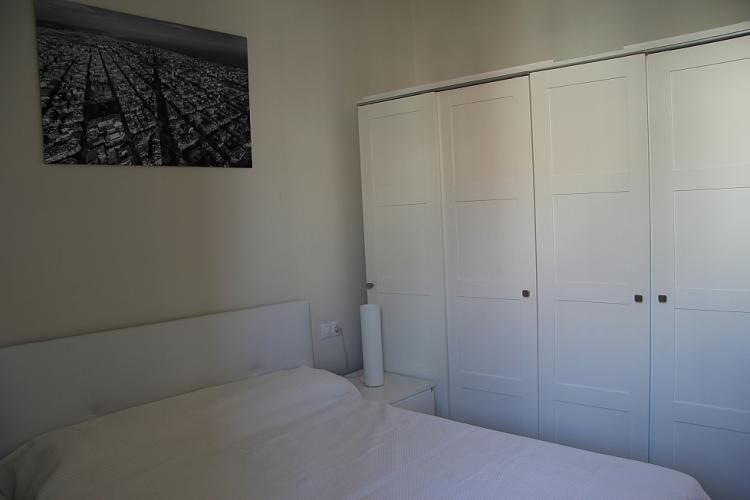 Large double bed and wardrobe