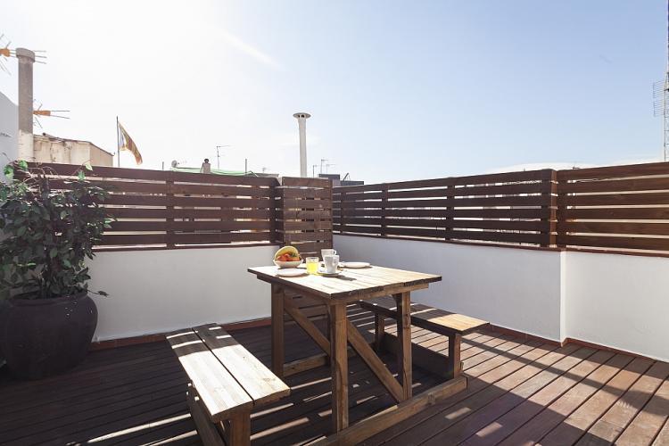 Sunny community terrace