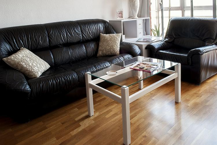 The apartment comes with a comfortable couch and armchair