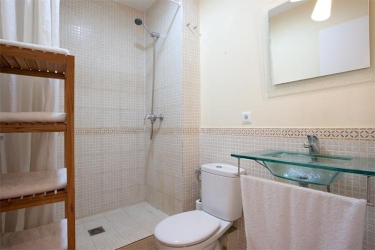 Bathroom with its large shower
