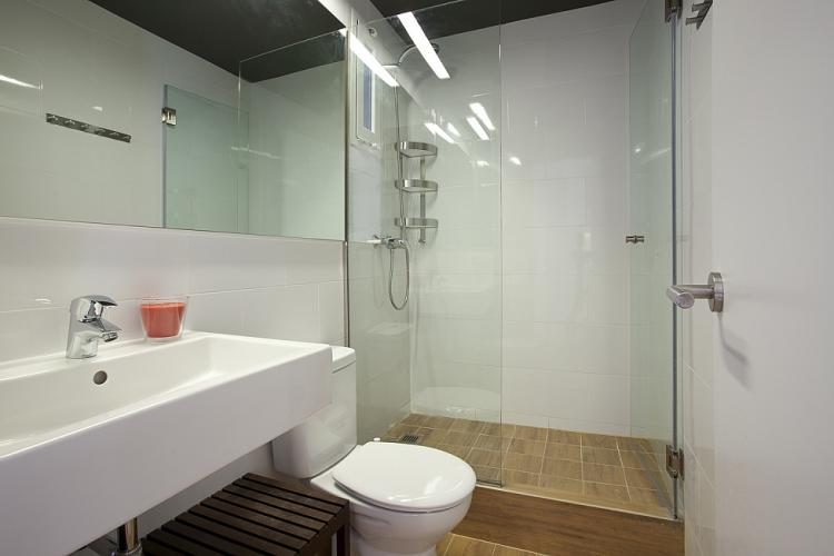 Enjoy this wonderful bathroom with its huge shower