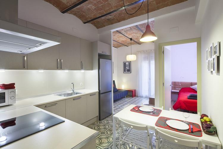 Large kitchen with its dining area