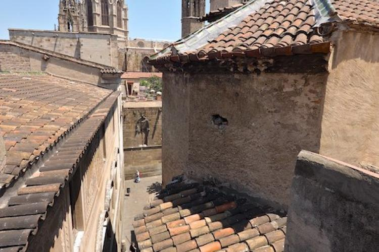 Typical rooftops of Barcelona and cathedral in the background.